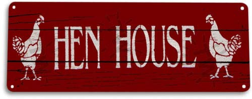 TIN Sign Hen House Cottage Farrm Eggs Chicken Coop Rustic Decor ()