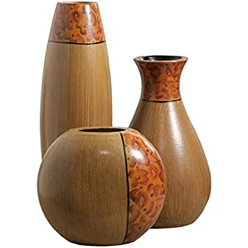 Hosley's Set of 3 Burlwood Vases. Ideal for Home Office, Decor, Floor Vases, Spa, Aromatherapy settings