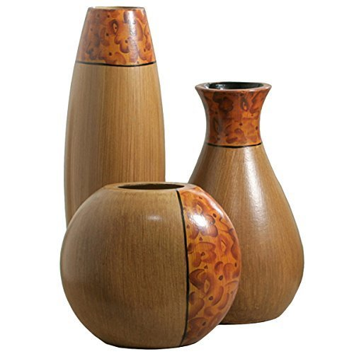 Burl Wood Set Of 3 Decorative Vases For Home Living Room Decor