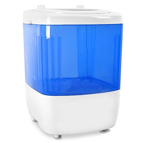 oneConcept SG001 Mini-Waschmaschine kleine Camping-Waschmaschine mit Toploader für Singles oder mobiles Wohnen (1,5kg Kapazität, 180 Watt Leistung, sehr leise / geräuscharm) weiß-blau