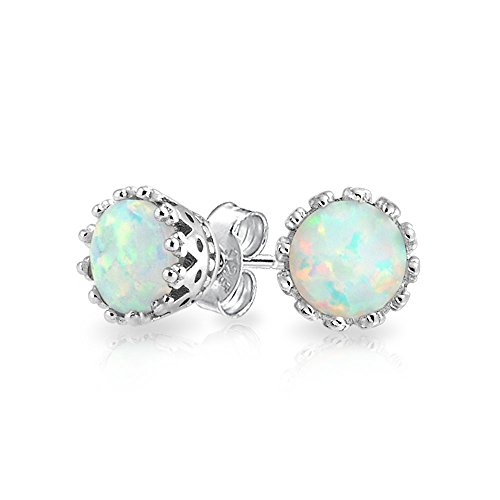White Created Opal Crown Setting Solitaire Stud Earrings For Women 925 Sterling Silver 6MM October ()