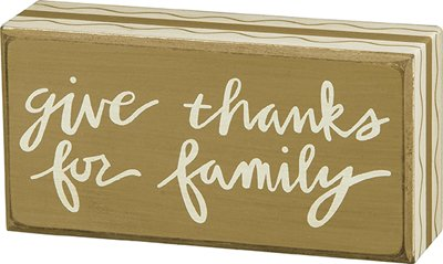 Give Thanks for Family Wood Block Sign (Give Blocks Thanks)