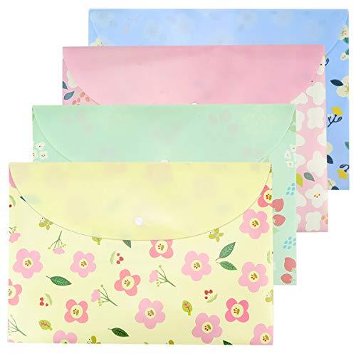 Hysagtek 4 Pcs Floral Printed A4 Size Paper Document File Folder Pouch Organizer Envelopes Business Briefcase Storage Holder With Snap Button Closure,4 Colors