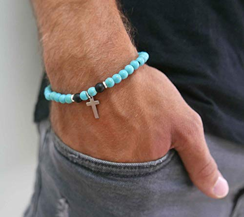 Handmade Strech Bracelet For men Set With Turquoise Gemstone Beads and Stainless Steel Cross Pendant By Galis Jewelry - Cross Bracelet For Men - Beaded Bracelet For Men - Gemstone Bracelet