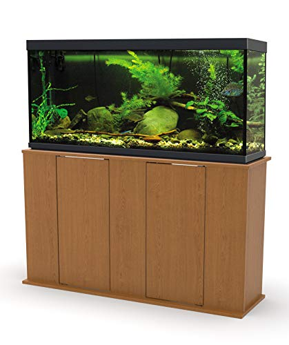 Aquatic Fundamentals AMZ-36551-44, 55 Gallon Aquarium Stand with Double Door Storage, Solar Oak Finish ()
