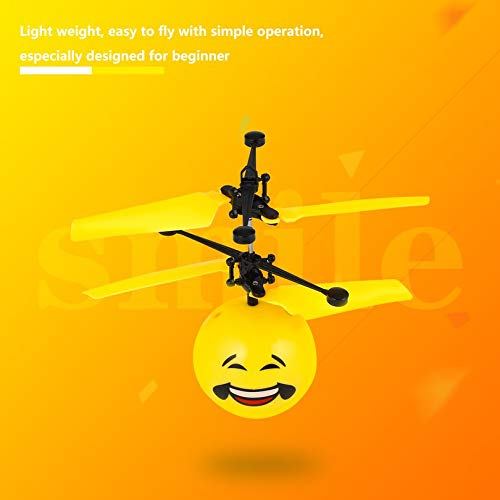 Cute Facial Expression Infrared Induction Flying Flash Disco Colorful Magic LED Lamp Ball Helicopter Child Toy