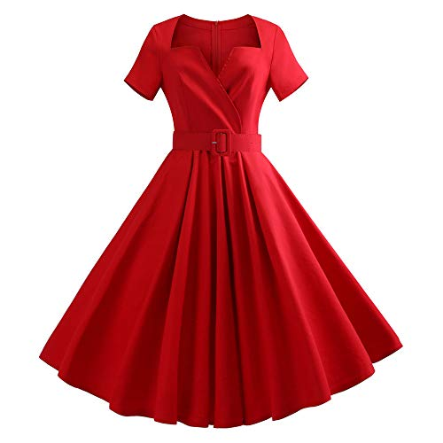 Women Plus Size Retro 1950s Short Sleeve Belt Solid Vintage Rockabilly Evening Party Swing Mini Dress(Red,L -