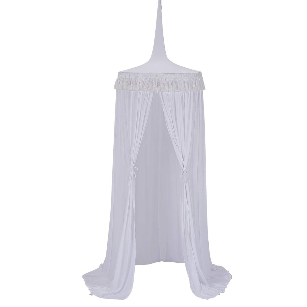 Big Size Cotton Bed Canopy 60 * 240cm Bed Canopy for Reading Room Cotton Mosquito Net Bed Canopy Round Dome with tassel Kids Bedroom Decoration Grey