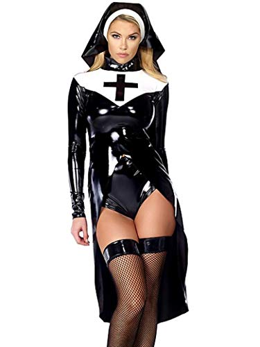 Halloween Fashion Black Women Sexy Nun Costume Vinyl Leather Cosplay (L)