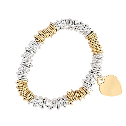 Sterlings Silver & Gold Plated Stretch Loop Linked Bracelet 8'' Free Gift Pouch by FindingKing