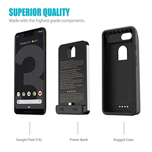 Google Pixel 3 XL Battery Charging Case, ZeroLemon Ultra Power 8500mAh Extended Rechargeable Battery with Soft TPU Case for Google Pixel 3 XL - Black by ZEROLEMON (Image #6)