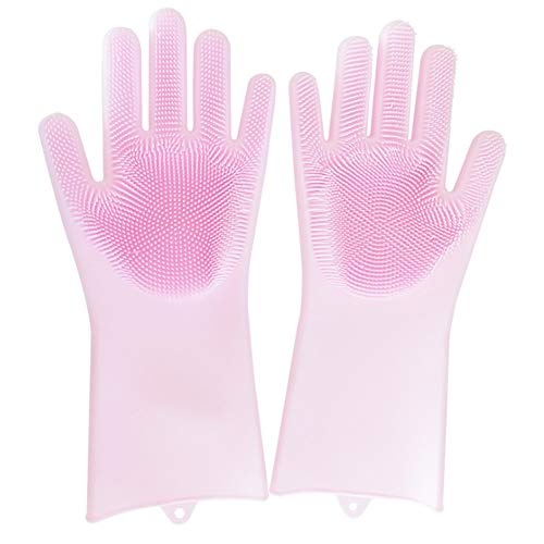 - Magic Silicone Scrubber Rubber Cleaning Gloves, Dusting Dish Washing Pet Care Grooming Hair Car Insulated Kitchen Helper,1 Pair (Pink)