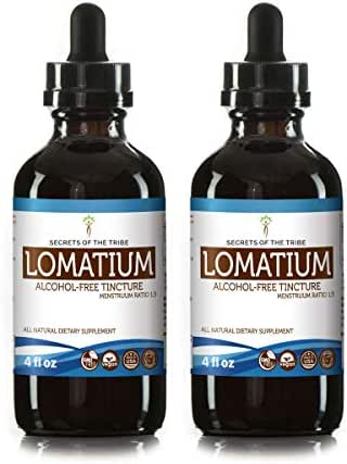 Secrets Of The Tribe Lomatium Alcohol-Free Tincture (Glycerite) 663 mg Organic Lomatium (Lomatium Dissectum) (2x4 Fl Oz) Immune System Support Supplement