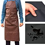 Vinyl Waterproof Apron PU Leather with 1Pockets,Long Cooking Apron for Men Women Chef,Commercial Restaurant and Home Kitchen Apron Durable,Thicken and use flexibly, Size XL Brown