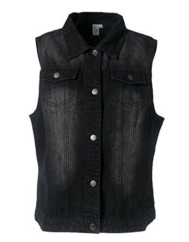 MISS MOLY Women's Washed Sleeveless Denim Vest Waistcoat w 2 Chest Pockets Black Small