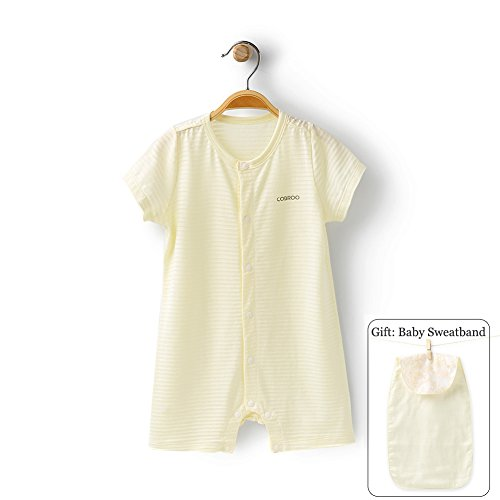 COBROO 100% Unisex Baby Romper with Short Sleeves Solid Color Breathable Thin Summer Onesie Yellow for 12-24 ()
