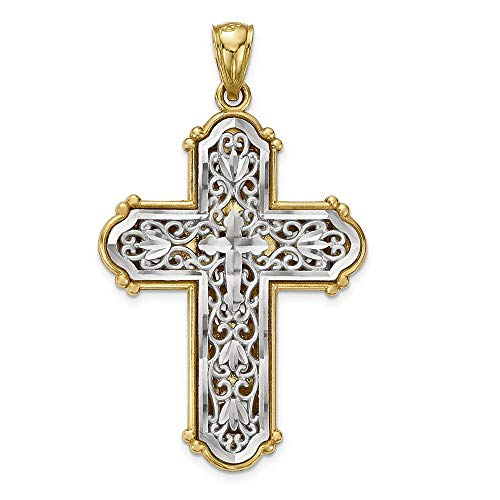14K White And Yellow Gold Reversible Diamond-cut Filigree Fleur de Lis Cross Charm Pendant ()