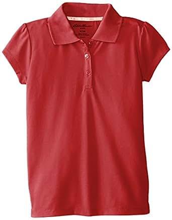 Eddie Bauer Big Girls'  Stretch Baby Pique Knit Top, Red, 10/12