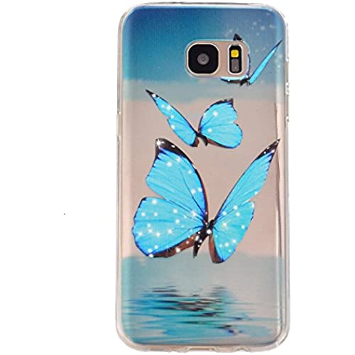 Gravydeals S7 Edge Transparent Soft Case,Ultra Thin [Slim Fit] Lovely Blue Butterfly Relief Print Clear TPU Protective Case Cover Skin for Samsung Galaxy S7 Edge Sales