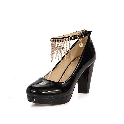 Solki Pu Pumppuja Korkokengät Naisten Suljetun kengät Solid Musta Amoonyfashion Toe Kierroksella HPW5qEEw