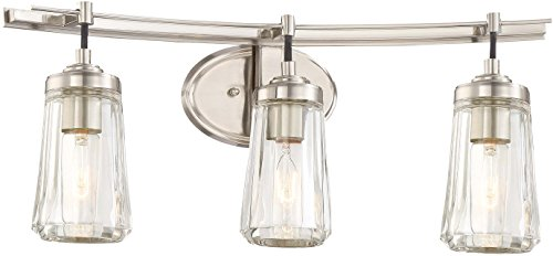 Minka Lavery Wall Light Fixtures 2303-84 Poleis Wall Bath Vanity Lighting, 3-Light, 180 Watts, Brushed Nickel