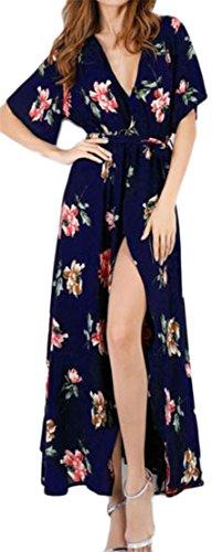 9 Dresses Cruiize Summer Floral Neck Beach Slit Womens Chiffon Print V UU6qrv7w