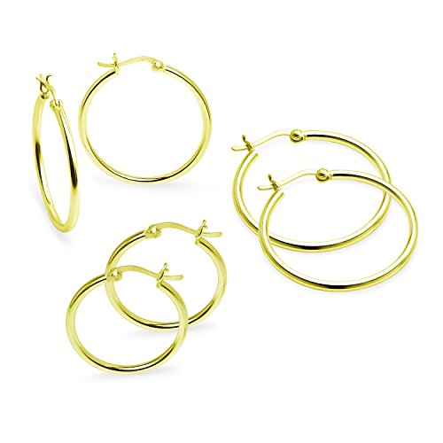 5mm Medium Earrings Hoop (Yellow Gold Flash Sterling Silver 5mm 30mm 35mm Set Small Medium Hoop Earrings 2mm Set)