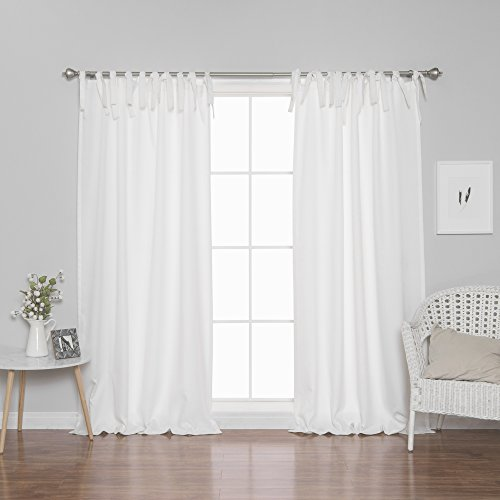 Best Home Fashion Oxford Tie Top Curtains - Tie Top Hanging Style - White - 52