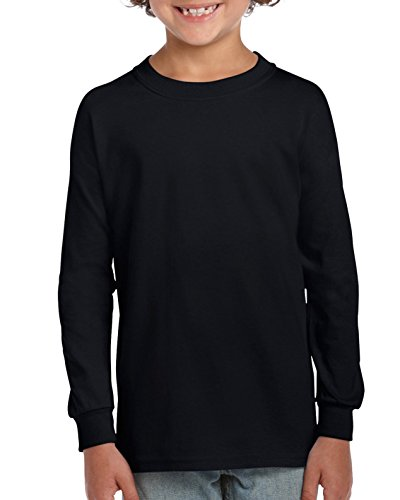Gildan Little Kids Ultra Cotton Youth Long Sleeve T-Shirt, 2-Pack, Black, (Black Boys Long Sleeve Shirt)