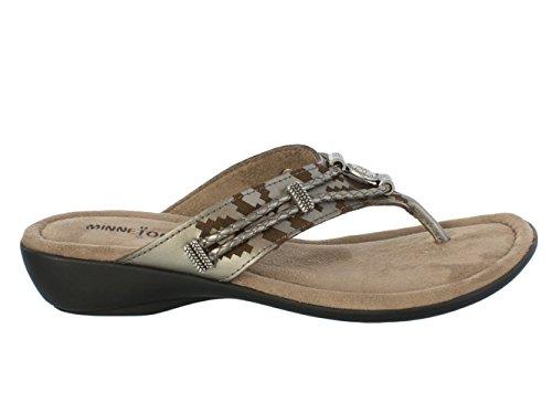 Silverthorne Women's Pewter Sandal Thong Laser Print Minnetonka 84wAq05q