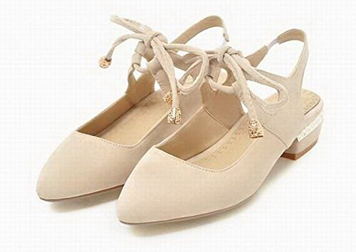 Heels Toe up Lace CCALP014556 Solid Women VogueZone009 Frosted Beige Low Pointed Sandals wI7qWA1