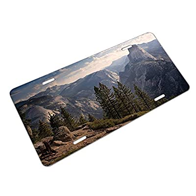 Amcove Half Dome Mountain Scenery License Plate Aluminum Metal License Plate Car Tag Novelty Home Decoration for Women Girls Men Boys 6 inch X 12 inch: Automotive