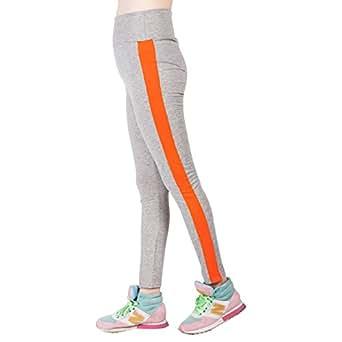 Dong Dian Women's Splice Gym Workout Tight Yoga Long Pants Leggings Orange XL
