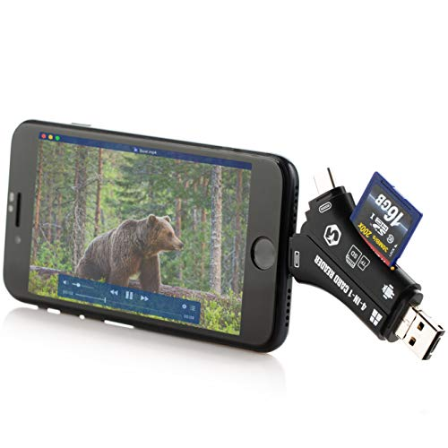 Foxelli Trail Camera Viewer - SD & TF Micro SD Card Reader for iPhone, iPad, Mac & Android, 4-in-1 Game Camera Card Reader to View Photos & Videos from Any Hunting Camera on a Smartphone