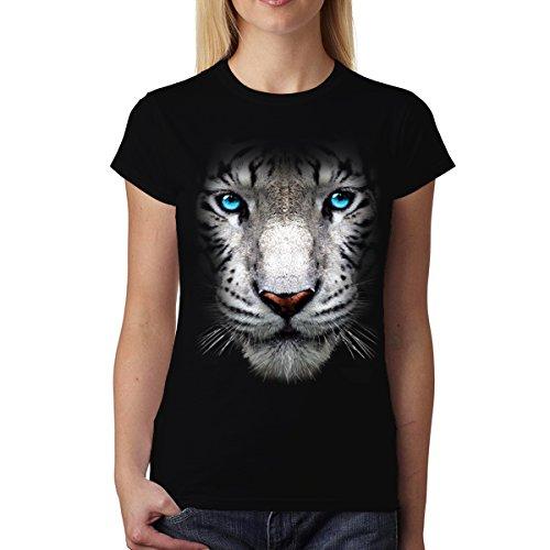 Tigre Blanco Ojos Azules Animales Mujer Camiseta S-2XL Nuevo Negro
