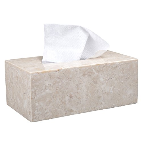 Creative Home Champagne Marble Stone Rectangular Tissue Box Holder Cover 9-1/2'' L x 5-1/4'' W x 3-1/2'' H Beige by Creative Home (Image #3)
