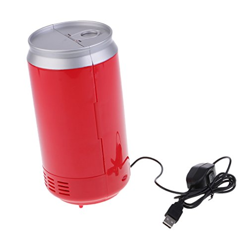 Price comparison product image Baoblaze Universal Car Mini Fridge Warmer and Cooler Dual Auto USB Refrigerator Freezer Office Red