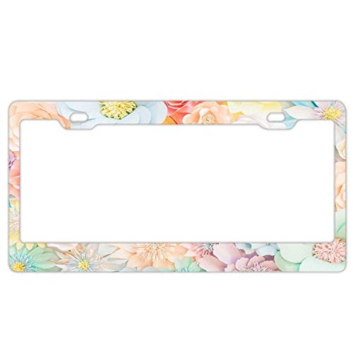 DIY ToBy Pastel Tea Party Floral Wedding License Plate Frame Auto Tag Holder Funny Car Tag Frame Car Tag Holder Aluminum 2 Holes and Screws