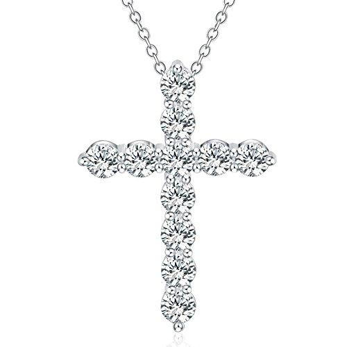 Zircon Cross - Buyanputra Shiny Zircon Cross Pendant Long Necklace Link Chain Crystal Necklace
