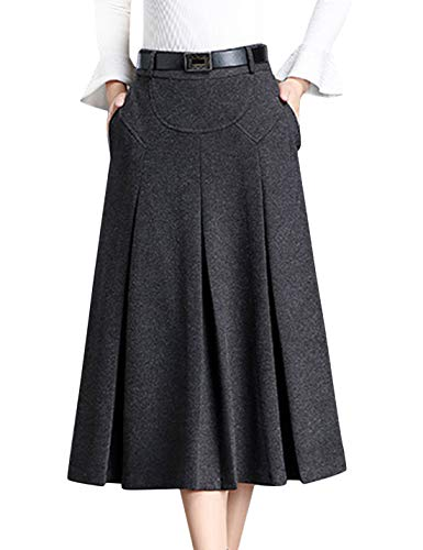 - Tanming Womens Winter High Waist A-Line Pleated Wool Long Skirt with Waist Loops (Dark Gray, Large)