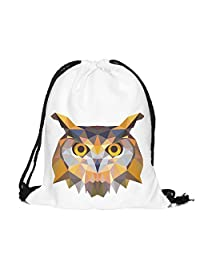 Drawstring Backpack Rucksack School Book Bags Gymbag TRIANGLES OWL WHITE [010]