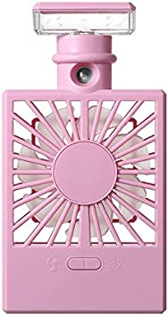 Air Cooling Fan Humidifying Mini Electric Fan Color : Purple USB Charging Handheld Light Spray Portable Fan