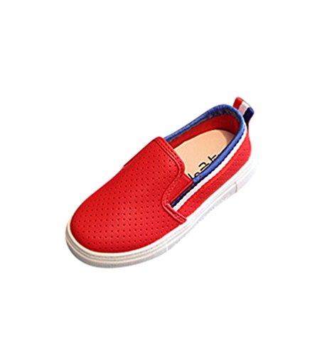 NiSeng Jungen/Mädchen Mode Flache Schuhe Kinderschuhe Bootsschuhe Halbschuhe Bequem Schuhe Rot
