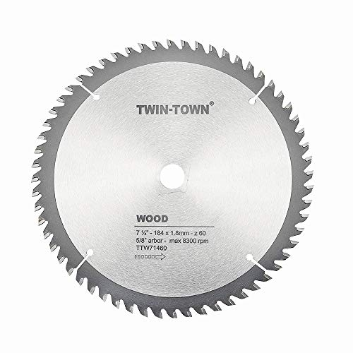 TWIN-TOWN 7-1/4-Inch Saw Blade, 60 Teeth,General Purpose for Soft Wood, Hard Wood, Chipboard & Plywood, 5/8-Inch DMK Arbor -