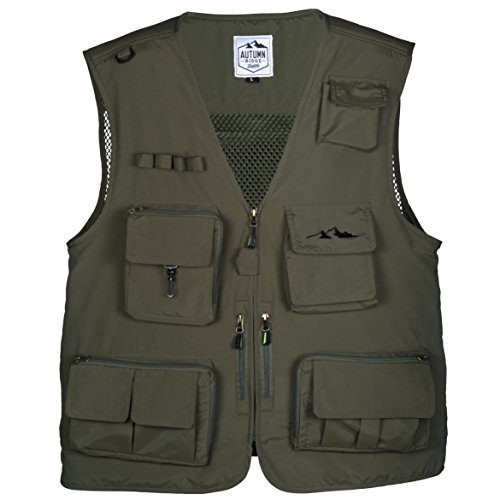 Fly Fishing Photography Climbing Vest with 16 Pockets made with Lightweight Mesh Fabric for Travel, Sports, Hiking, Bird Watching, River Guide Adventures, Safaris and Hunting (Green, Large) -
