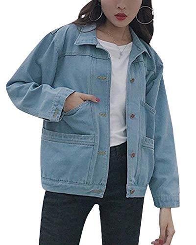 Elegante Blau Corto Giacca Mode Ragazze Bolawoo Lunghe Autunno Jeans Di Donna Marca College Primaverile Cappotto Stile Maniche Giovane Casual Fidanzato Hell Bavero Relaxed Giacche 8qq1gOxX