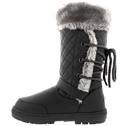 Rain Back Womens Lace Leather Winter Grey Tall Roap Boots Buckle Snow q606EBUw