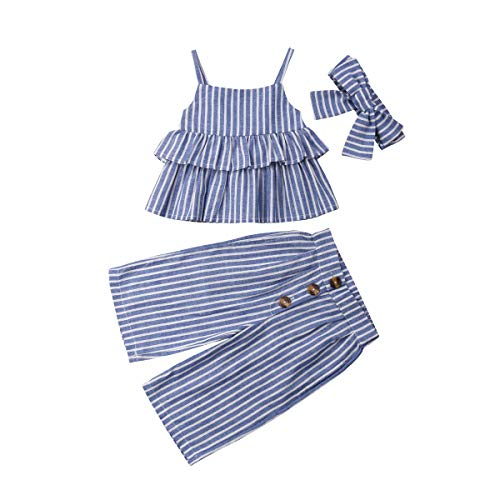 3PCS Toddler Baby Girl Halter Sleeveless Flared Tank Top Button Long Pants Headband Summer Clothes Outfit Sets 1-6Y (Blue Stripe,2-3 Years) from niceclould