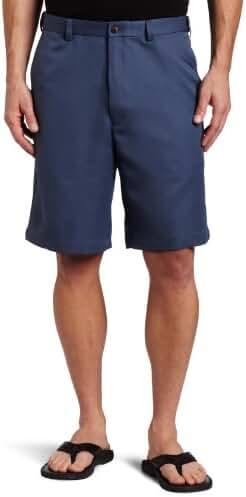 Haggar Men's Cool 18 Gabardine Hidden Expandable-Waist Plain-Front Short