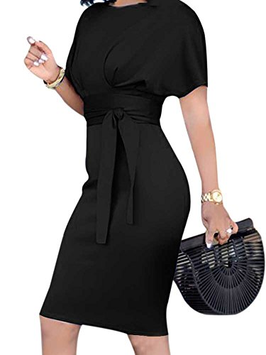 Women's Formal Pencil Dress Business Wear to Work Casual Short Sleeve Dress with Belt Black XXXL by SCORP (Image #1)